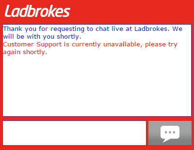 Ladbrokes chat not available