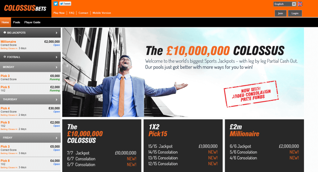 Colossus bets homepage