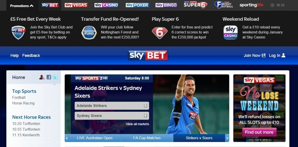 Sky bet sports markets