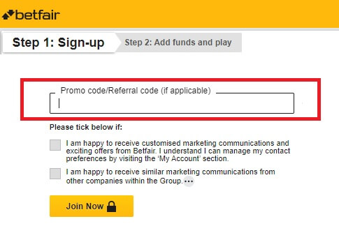 Registration with Betfair promo code