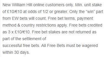 William Hill Sports Promo Code Free Bet Terms Conditions