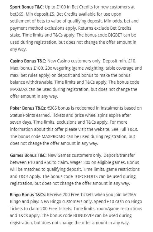 bet365 bonus codes terms and conditions
